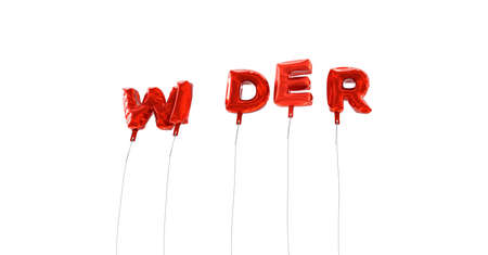 WIDER - word made from red foil balloons - 3D rendered.  Can be used for an online banner ad or a print postcard.