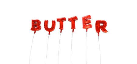 wording: BUTTER - word made from red foil balloons - 3D rendered.  Can be used for an online banner ad or a print postcard. Stock Photo