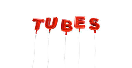 wording: TUBES - word made from red foil balloons - 3D rendered.  Can be used for an online banner ad or a print postcard. Stock Photo
