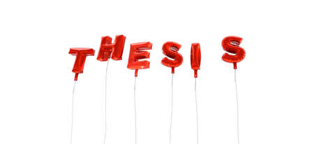 THESIS - word made from red foil balloons - 3D rendered.  Can be used for an online banner ad or a print postcard. Stock Photo