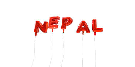 NEPAL - word made from red foil balloons - 3D rendered.  Can be used for an online banner ad or a print postcard.