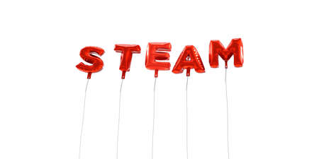 wording: STEAM - word made from red foil balloons - 3D rendered.  Can be used for an online banner ad or a print postcard.