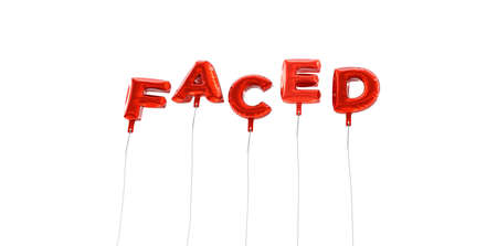 FACED - word made from red foil balloons - 3D rendered.  Can be used for an online banner ad or a print postcard.