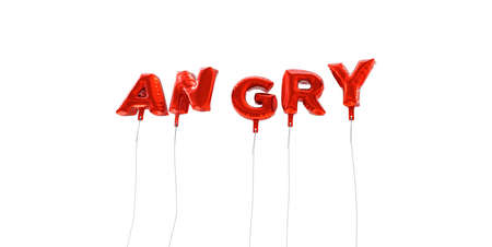 wording: ANGRY - word made from red foil balloons - 3D rendered.  Can be used for an online banner ad or a print postcard.