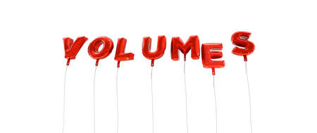 volumes: VOLUMES - word made from red foil balloons - 3D rendered.  Can be used for an online banner ad or a print postcard.