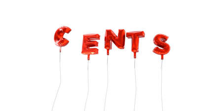 CENTS - word made from red foil balloons - 3D rendered.  Can be used for an online banner ad or a print postcard.