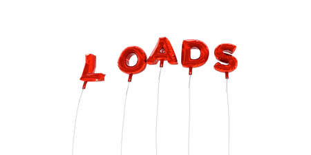 LOADS - word made from red foil balloons - 3D rendered.  Can be used for an online banner ad or a print postcard.