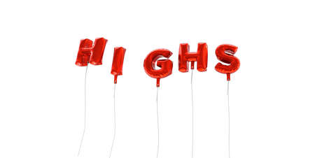 highs: HIGHS - word made from red foil balloons - 3D rendered.  Can be used for an online banner ad or a print postcard.