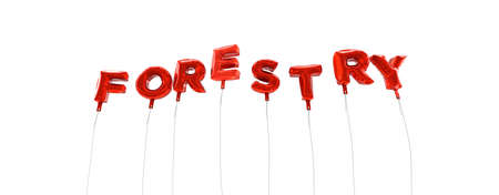 FORESTRY - word made from red foil balloons - 3D rendered.  Can be used for an online banner ad or a print postcard. Stock Photo