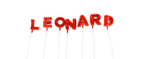 leonard: LEONARD - word made from red foil balloons - 3D rendered.  Can be used for an online banner ad or a print postcard.