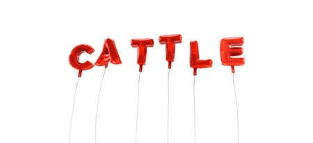 CATTLE - word made from red foil balloons - 3D rendered.  Can be used for an online banner ad or a print postcard. Stock Photo