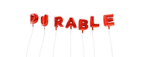 durable: DURABLE - word made from red foil balloons - 3D rendered.  Can be used for an online banner ad or a print postcard.