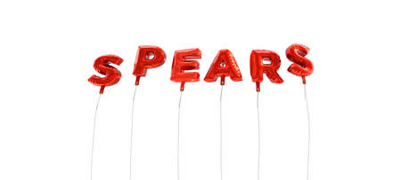 SPEARS - word made from red foil balloons - 3D rendered.  Can be used for an online banner ad or a print postcard. Stock Photo