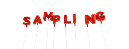 SAMPLING - word made from red foil balloons - 3D rendered.  Can be used for an online banner ad or a print postcard.