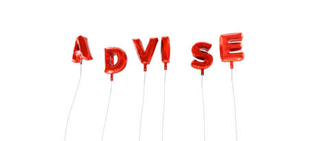 advise: ADVISE - word made from red foil balloons - 3D rendered.  Can be used for an online banner ad or a print postcard.