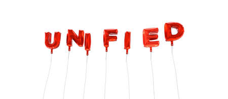 unified: UNIFIED - word made from red foil balloons - 3D rendered.  Can be used for an online banner ad or a print postcard.