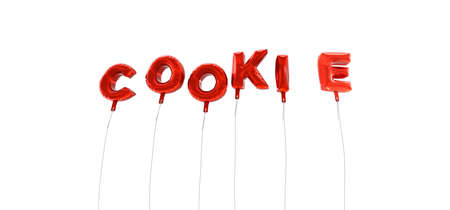 COOKIE - word made from red foil balloons - 3D rendered.  Can be used for an online banner ad or a print postcard.