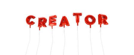 creador: CREADOR - palabra hecha de globos de la hoja de color rojo - 3D prestados. Puede ser utilizado para un banner publicitario en línea o una postal de impresión.