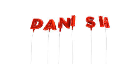 デンマーク語 - 赤箔バルーン - 3 D レンダリングから作られた言葉。 オンラインのバナー広告や印刷のはがきに使用できます。