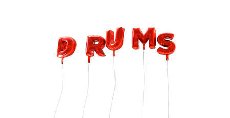 DRUMS - word made from red foil balloons - 3D rendered.  Can be used for an online banner ad or a print postcard. Stock Photo