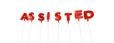 assisted: ASSISTED - word made from red foil balloons - 3D rendered.  Can be used for an online banner ad or a print postcard. Stock Photo