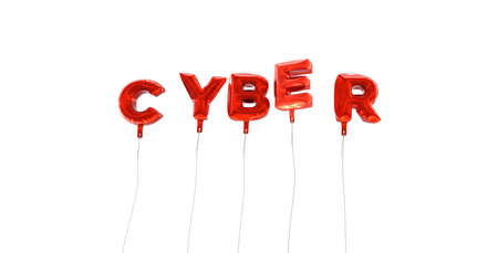 CYBER - word made from red foil balloons - 3D rendered.  Can be used for an online banner ad or a print postcard. Stock Photo