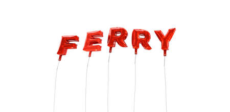 FERRY - word made from red foil balloons - 3D rendered.  Can be used for an online banner ad or a print postcard. Banco de Imagens