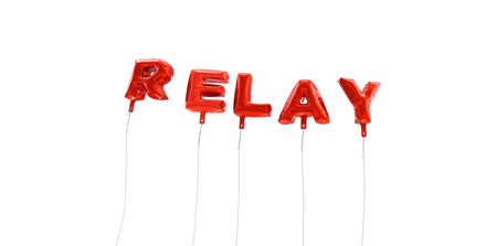 relay: RELAY - word made from red foil balloons - 3D rendered.  Can be used for an online banner ad or a print postcard. Stock Photo