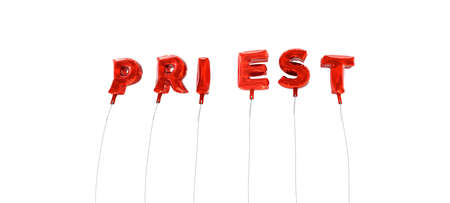 PRIEST - word made from red foil balloons - 3D rendered.  Can be used for an online banner ad or a print postcard.