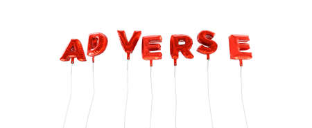 adverse: ADVERSE - word made from red foil balloons - 3D rendered.  Can be used for an online banner ad or a print postcard.
