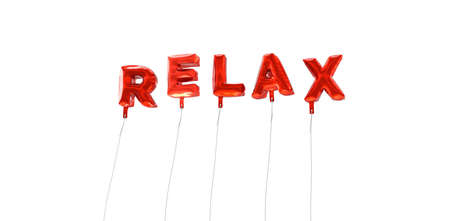 RELAX - word made from red foil balloons - 3D rendered.  Can be used for an online banner ad or a print postcard. Stock Photo