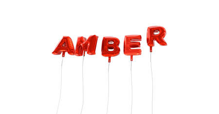 AMBER - word made from red foil balloons - 3D rendered.  Can be used for an online banner ad or a print postcard.