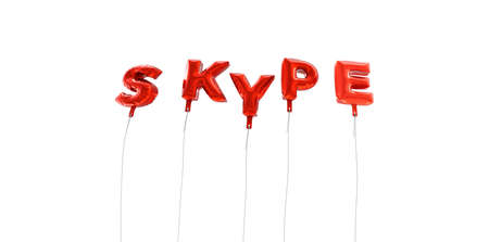 background skype: SKYPE - word made from red foil balloons - 3D rendered.  Can be used for an online banner ad or a print postcard.