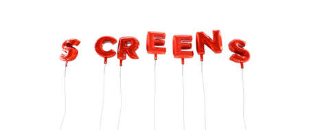 SCREENS - word made from red foil balloons - 3D rendered.  Can be used for an online banner ad or a print postcard.