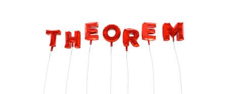 teorema: Teorema - palabra hecha de globos de la hoja de color rojo - 3D prestados. Puede ser utilizado para un banner publicitario en línea o una postal de impresión.
