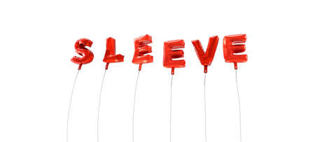 SLEEVE - word made from red foil balloons - 3D rendered.  Can be used for an online banner ad or a print postcard.