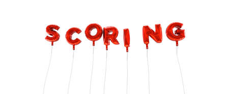 scoring: SCORING - word made from red foil balloons - 3D rendered.  Can be used for an online banner ad or a print postcard.