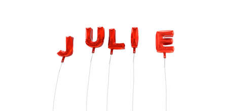 julie: JULIE - word made from red foil balloons - 3D rendered.  Can be used for an online banner ad or a print postcard.