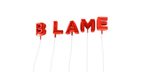 blame: BLAME - word made from red foil balloons - 3D rendered.  Can be used for an online banner ad or a print postcard.