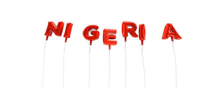 NIGERIA - word made from red foil balloons - 3D rendered.  Can be used for an online banner ad or a print postcard. Stock Photo