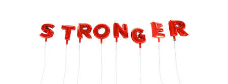 STRONGER - word made from red foil balloons - 3D rendered.  Can be used for an online banner ad or a print postcard.