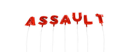 ASSAULT - word made from red foil balloons - 3D rendered.  Can be used for an online banner ad or a print postcard.
