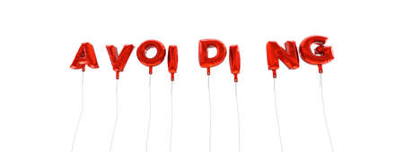 avoiding: AVOIDING - word made from red foil balloons - 3D rendered.  Can be used for an online banner ad or a print postcard. Stock Photo