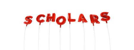 学者 - 赤箔バルーン - 3 D レンダリングから作られた言葉。 オンラインのバナー広告や印刷のはがきに使用できます。 写真素材