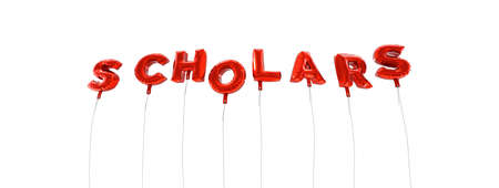 scholars: SCHOLARS - word made from red foil balloons - 3D rendered.  Can be used for an online banner ad or a print postcard. Stock Photo