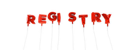 registry: REGISTRY - word made from red foil balloons - 3D rendered.  Can be used for an online banner ad or a print postcard.