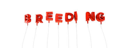 breeding: BREEDING - word made from red foil balloons - 3D rendered.  Can be used for an online banner ad or a print postcard. Stock Photo