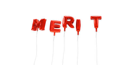 merit: MERIT - word made from red foil balloons - 3D rendered.  Can be used for an online banner ad or a print postcard.