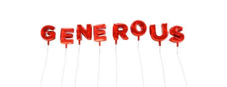 generoso: GENEROSO - palabra hecha de globos de la hoja de color rojo - 3D prestados. Puede ser utilizado para un banner publicitario en línea o una postal de impresión. Foto de archivo