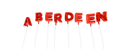 aberdeen: ABERDEEN - word made from red foil balloons - 3D rendered.  Can be used for an online banner ad or a print postcard.